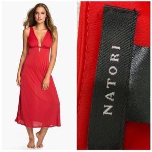 Natori Aphrodite Red Keyhole Nightgown Maxi